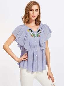 Flutter Sleeve Embroidered Smock Blouse