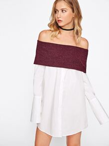 Contrast Foldover Off Shoulder Wide Cuff Shirt