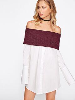 Contrast Foldover Off Shoulder Wide Cuff Shirt