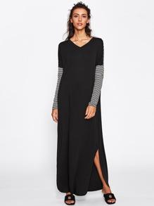 Curved Hem Cut And Sew Hajib Long Dress