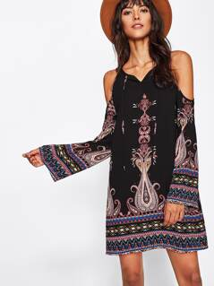 Tie Neck Mixed Print Bell Sleeve Dress