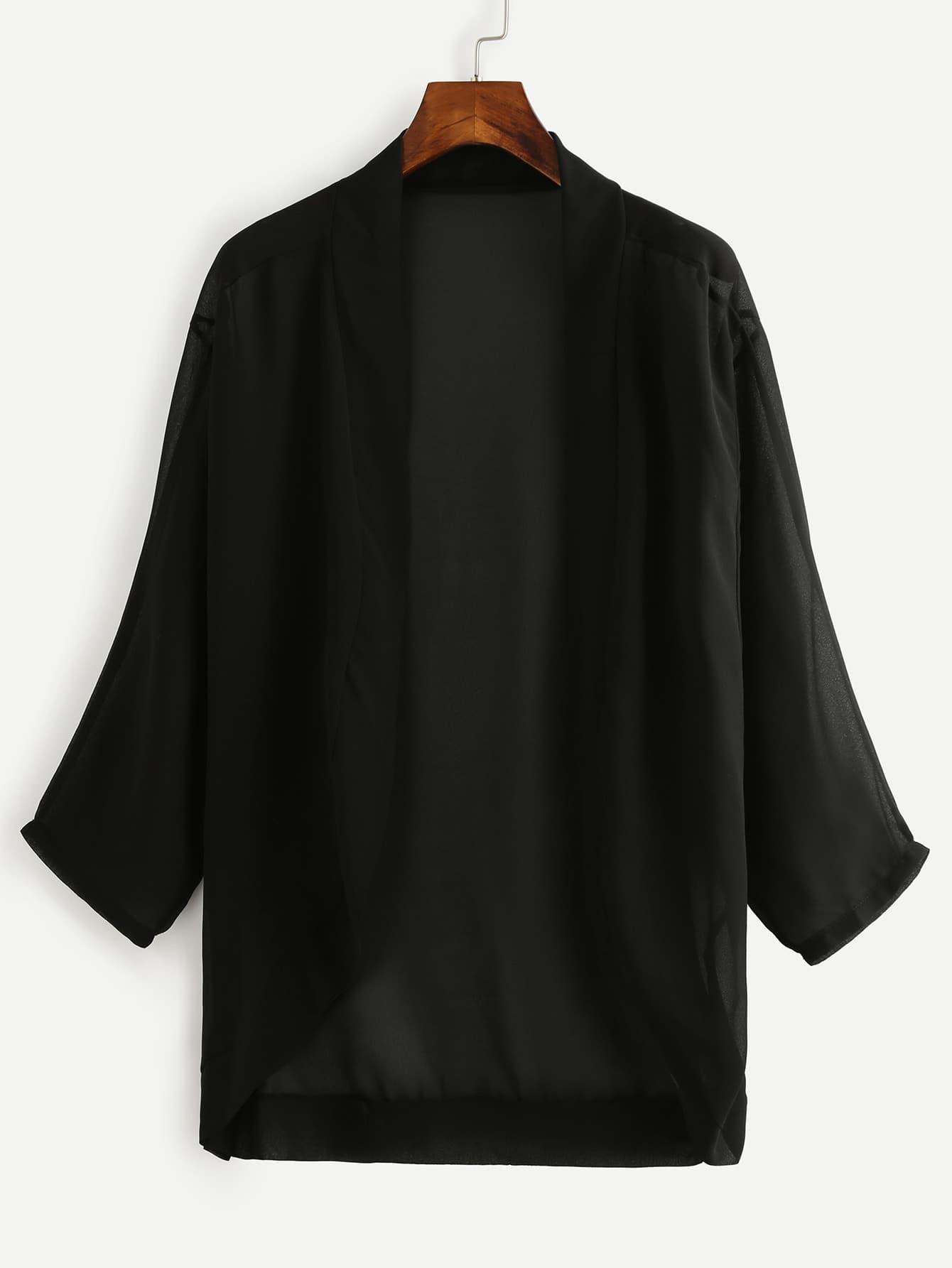 Dropped Shoulder Chiffon Kimono