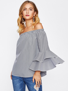 Bardot Tiered Flute Sleeve Curved Hem Gingham Top