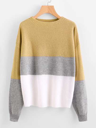 Color Block Textured Jumper