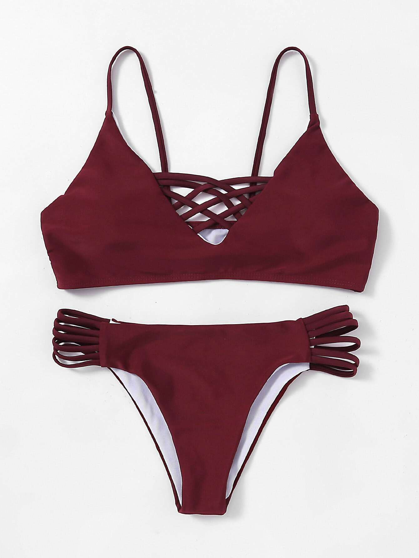 Criss Cross Ladder Cutout Bikini Set swimwear170816307