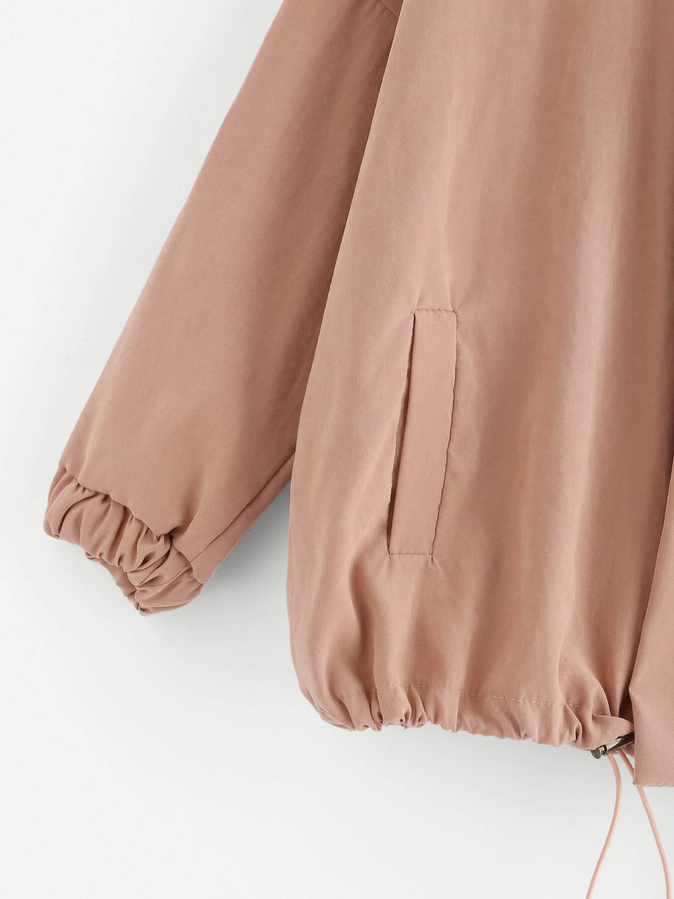 Drawstring Hem Zip Up Jacket