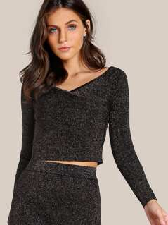 Criss Cross Glitter Crop Top BLACK GOLD