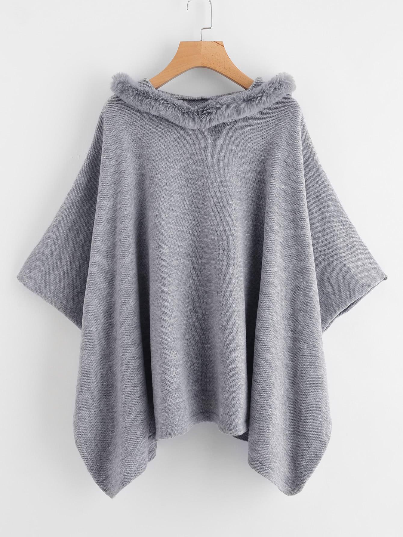 Hanky Hem Faux Fur Trim Hooded Poncho Sweater camo insert faux fur trim denim jacket