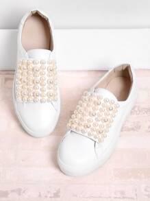 Zapatillas con perla de imitación