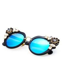Rhinestone Decorated Cat Eye Sunglasses