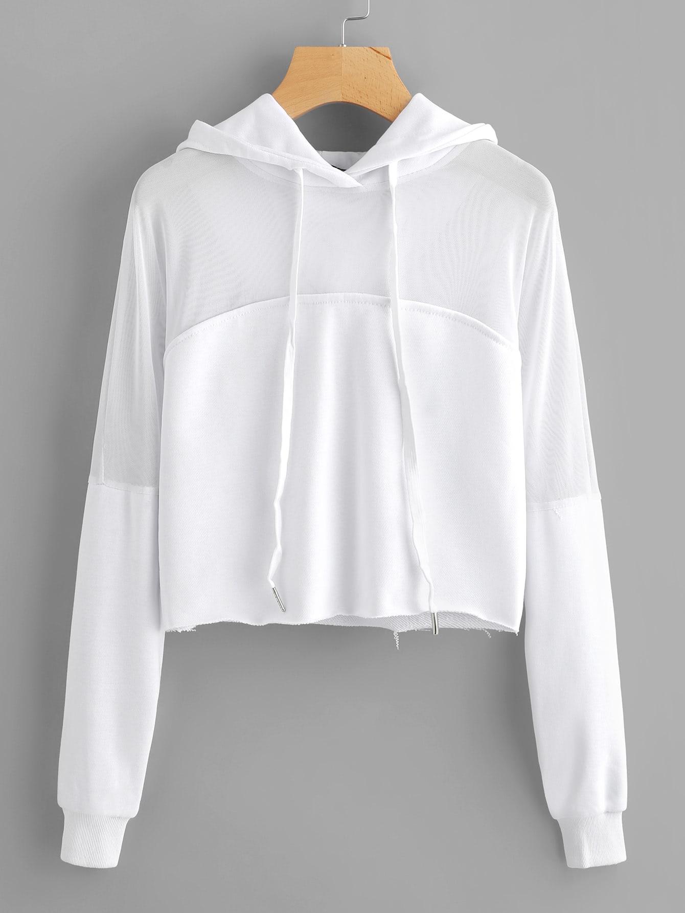 Купить Повседневный Ровный цвет Пуловеры Белый Свитшоты, null, SheIn