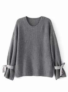 Ribbon Tie Drop Shoulder Sweater