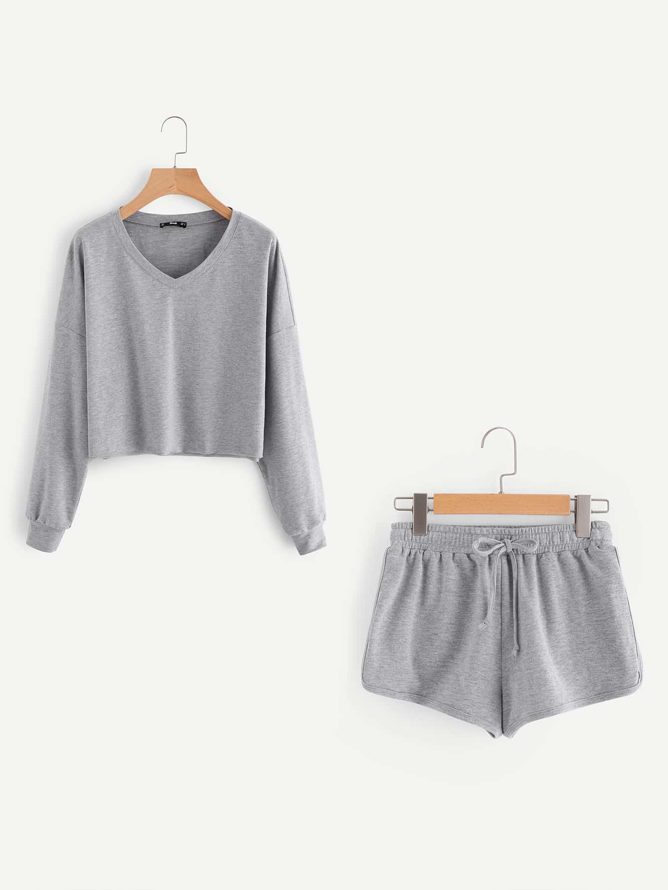 Dropped Shoulder Heathered Pullover And Dolphin Hem Shorts Set pearl embellished drop shoulder heathered knit pullover