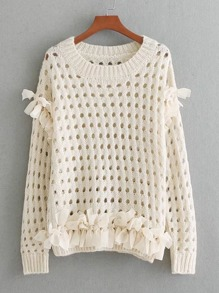 Mesh Knot Hollow Out Jumper Sweater