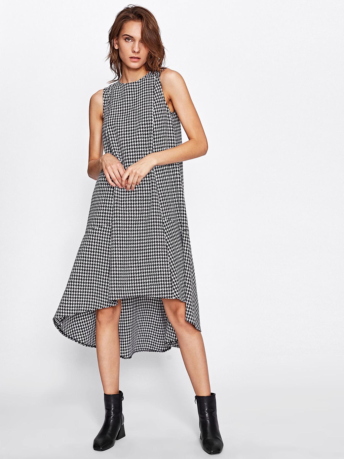 Dip Hem Swing Houndstooth Dress