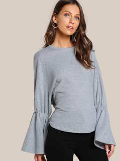 Soft Knit Trumpet Sleeve Top GREY