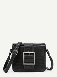 Buckle Front Crocodile Pattern PU Crossbody Bag