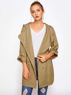 Drape Collar Drawstring Detail Pocket Hoodie Coat
