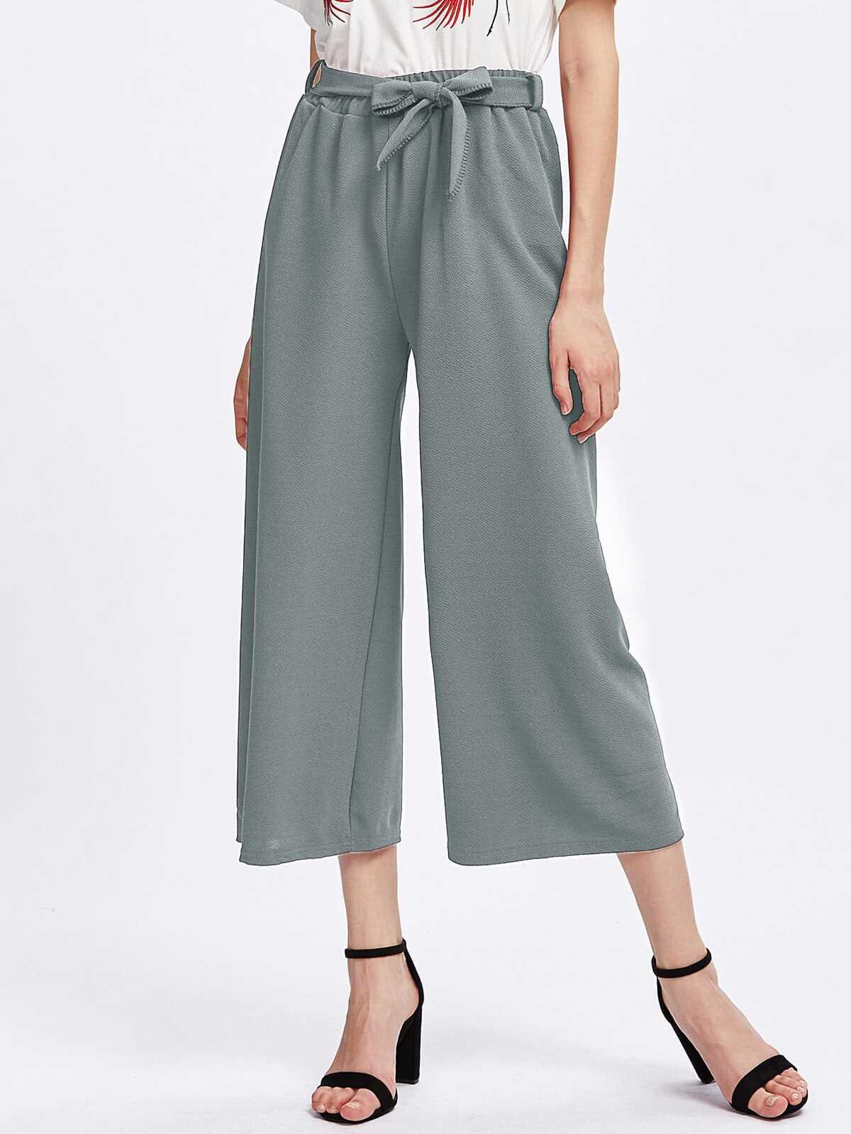 Tie Waist Culotte Pants by Romwe