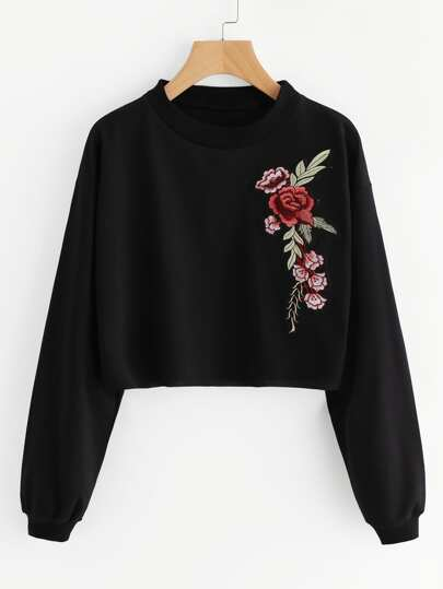 Embroidered Rose Applique Sweatshirt