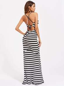 Contrast Stripe Criss Cross Backless Dress