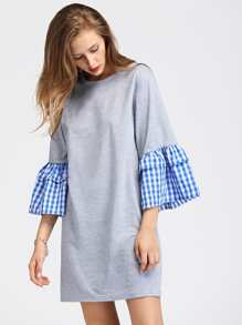 Contrast Gingham Flute Sleeve Marled Tee Dress
