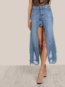 Ripped Seams Overlay Skirt DENIM