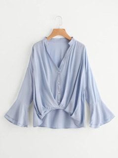 Layered Fluted Sleeve Pleated Gathered Hem Blouse