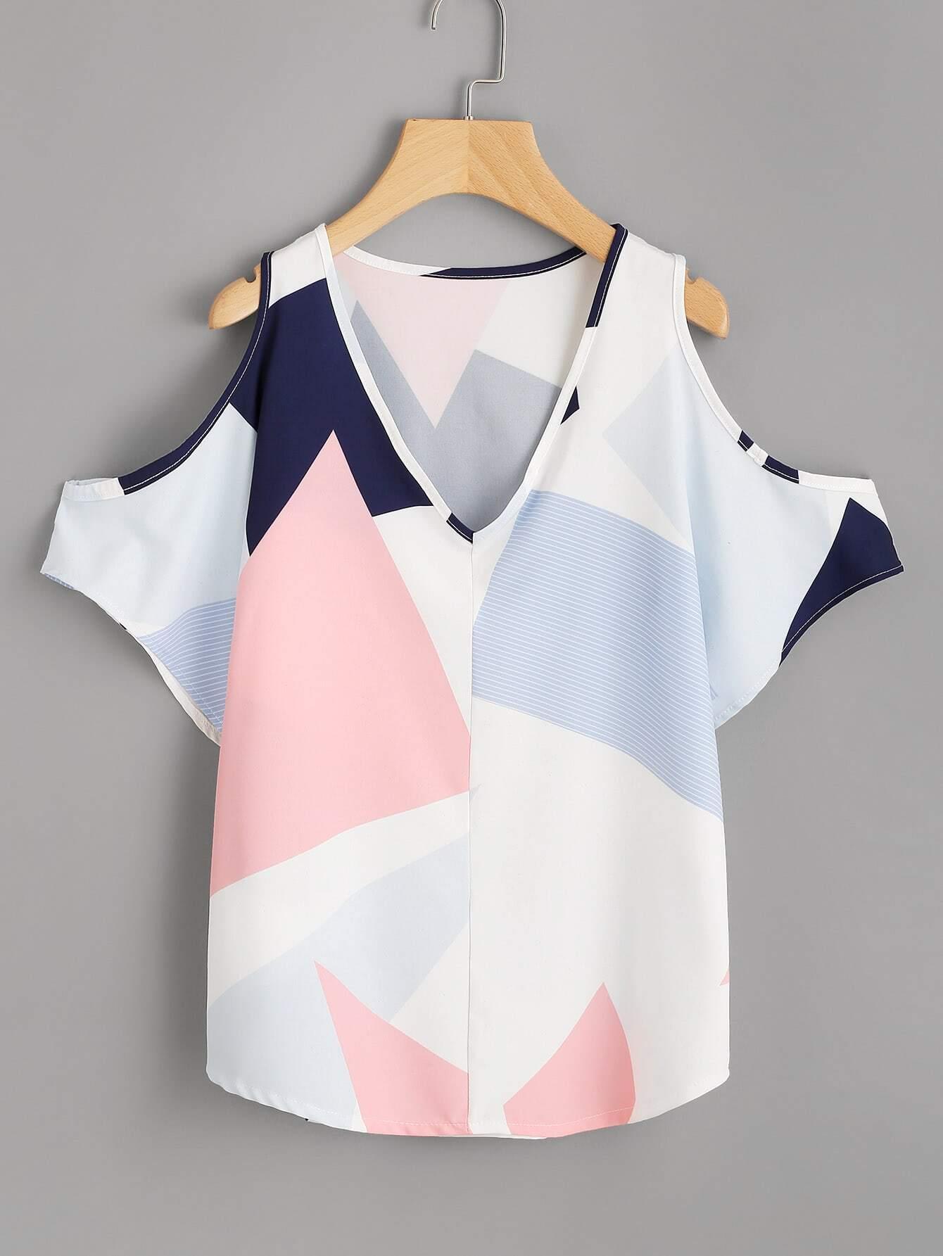 V Neckline Open Shoulder Geo Print Top v neckline geo print dress