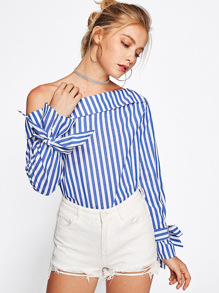 Contrast Striped Oblique Shoulder Blouse