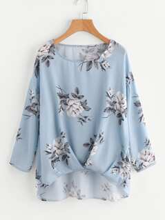 Box Pleated Gathered Hem Flower Print Top