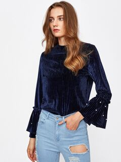 Pearl Beading Tiered Bell Cuff Ribbed Velvet Top