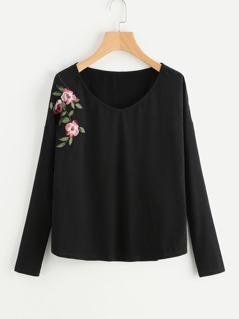 Flower Embroidered Drop Shoulder Tee