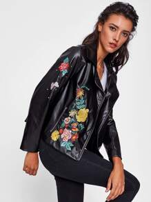 Flower Embroidered Beaded Asymmetric Zip Biker Jacket