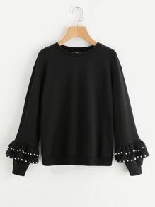 Pearl Beading Tiered Bell Cuff Sweatshirt