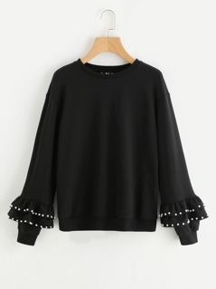 Pearl Beading Tiered Bell Cuff Sweatshirt