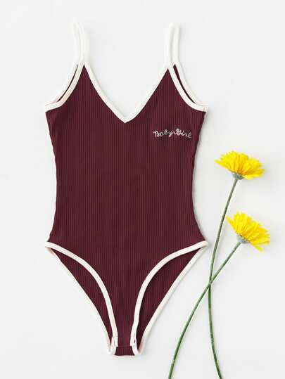 Letter Embroidered Ringer Ribbed Cami Bodysuit