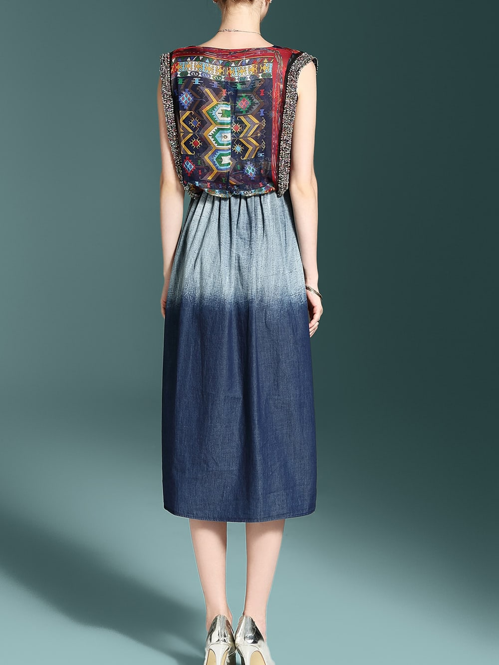Tribal Print Gradient Dress Shein Sheinside