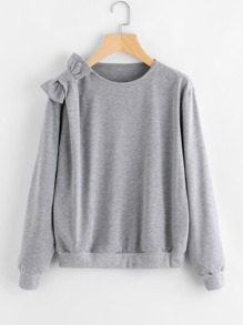 Bow Detail Heathered Knit Sweatshirt