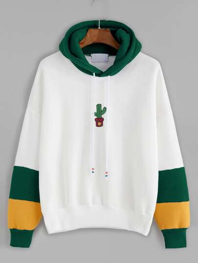 Hooded Drawstring Cactus Embroidered Contrast Sleeve Sweatshirt