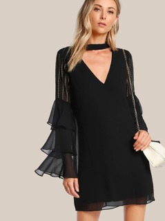 Studded Sleeve Choker Dress BLACK