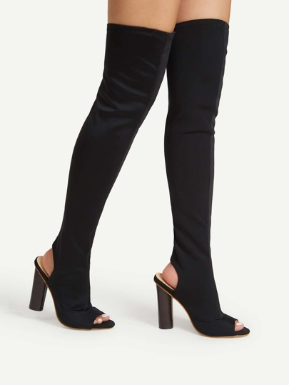 Block Heeled Over Knee Sock Boots