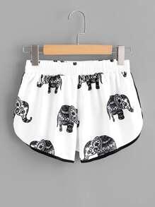 Elephant Print Ringer Shorts