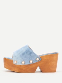 Faux Pearl Decorated Denim Platform Wedges