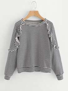 Ruffle Trim Raglan Sleeve Striped Pullover