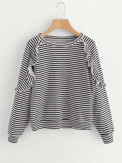 Ruffle Trim Raglan Sleeve Striped Pullover