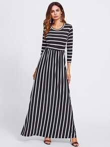 Contrast Stripe Full Length Dress