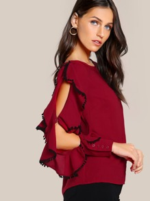 Open Shoulder Cascade Ruffle Sleeve Top