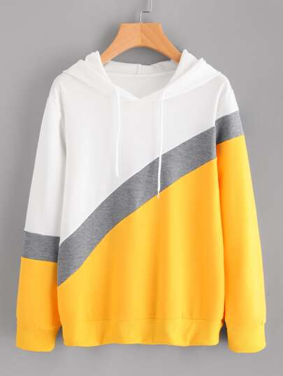Sudadera de color block con capucha