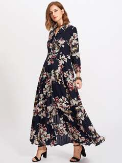 Flower Print Hidden Placket Dress